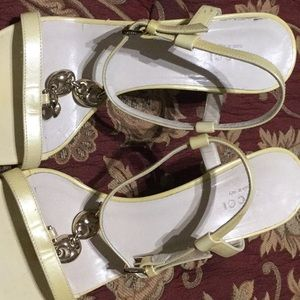 Lemon yellow GUCCI Heeled Sandals with gold chain